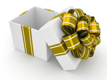 Open white gift box with gold bow isolated on white background 9 Stock Photos