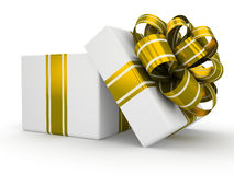 Open white gift box with gold bow isolated on white background 8 Royalty Free Stock Image