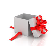 Open white gift-box with red ribbon Stock Photography