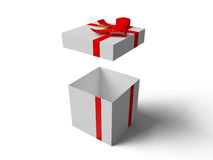 Open White gift box with red ribbon bow Stock Photo