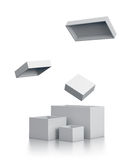Open white gift boxes isometric right view. Stock Photo