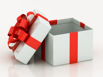 Open white gift boxes with red ribbon Stock Image