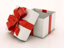 Open white gift boxes with red ribbon Stock Photo
