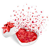 Open white gift present as heart with fly hearts Royalty Free Stock Image