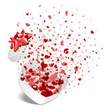 Open White Gift Present As Heart With Fly Hearts Stock Photos