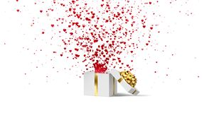 Open white holiday gift box with gold bow and with flow red and pink hearts. Valentines Day loop animation on the white. Open white holiday gift box with gold stock footage