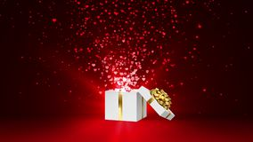 Open white holiday gift box with gold bow and with flow red and pink hearts. Valentines Day loop animation on the red. Open white holiday gift box with gold bow stock video footage
