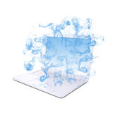 Open white laptop emits blue smoke Royalty Free Stock Photo