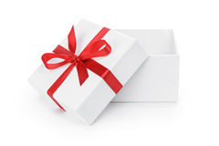 Open White Textured Gift Box With Red Ribbon Bow Stock Photos