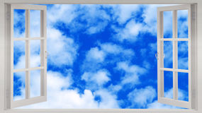 Open white window in the blue sky Royalty Free Stock Image