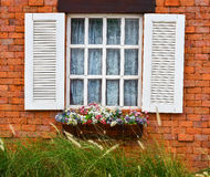 Open white window on red brick wall. And flower in wooden vase Stock Photos
