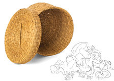 Open wicker basket for mushrooms and vegetables with wicker lid,. Handmade box isolated on white background combined with a simple drawing of mushrooms Stock Image