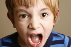 Open Wide. A 7 year old blond child showing teeth, or yelling. Shallow depth of field Royalty Free Stock Images