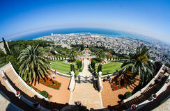 Open Wide View. Baha`i Gardens, view from the top over the Haifa Bay Royalty Free Stock Images