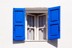 Open Window. A greek style window is opened Royalty Free Stock Images