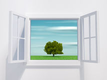Open window. This is a 3d render illustration Royalty Free Stock Photo