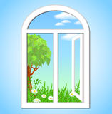 Open window. With a spring landscape royalty free illustration