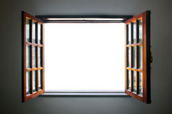 Open Window. Wide open rustic wooden window with empty white space in the middle Stock Photo