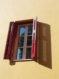 Open window 3. A wide open window with sky reflections on the glass Royalty Free Stock Photo