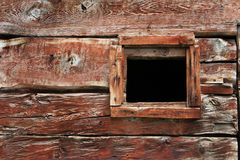 Open window. Window in an old wooden wall Stock Photo