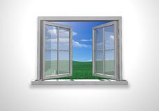 Open window. Open white window. blue sky and green field Stock Photography