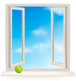 Open window against a wall and the cloudy sky Stock Photography