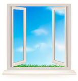 Open window against a white wall Stock Images