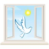 Open window against a white wall and the cloudy sky. Vector Stock Photos