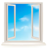 Open window against a white wall and the sky Stock Photography