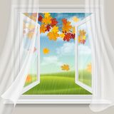 Open window and autumn landscape Royalty Free Stock Photography