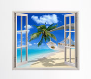 Open window on a beach Royalty Free Stock Photography