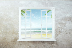 Open window with beach view. On concrete wall. 3D Rendering royalty free illustration