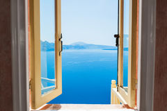 Open window with beautiful sea view. Royalty Free Stock Image