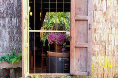 Open window on brick wall. Stock Photo