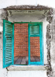 Open window with brick wall texture Stock Photo