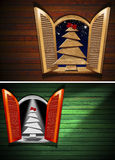 Open Window with Christmas Tree vector illustration