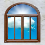 Open window cloud sun Stock Image