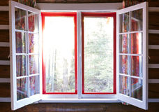 Open window in cottage Royalty Free Stock Photos
