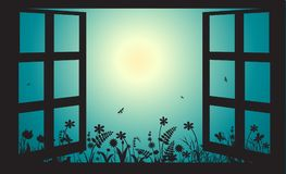 Open window in early morning summer garden, sun rise,. Vector Royalty Free Stock Images