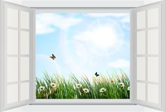 Open window with flowers and butterfly Stock Images
