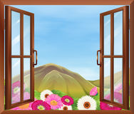 An open window with flowers outside Stock Photography