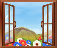 An open window with flowers outside Royalty Free Stock Photography