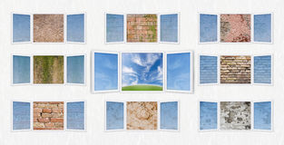 Open window freedom concept with walls. Conceptual shot of freedom and dreaming with the central window open on a beautiful paysage and the surrounding windows Stock Images