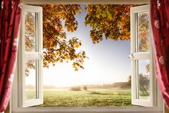 Open window onto stunning countryside Royalty Free Stock Photos