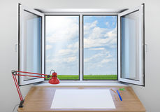 Open window. Green meadow on background. In room Stock Photo