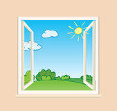 Open window with green nature outside - vector Stock Image