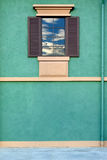 Open window in green wall Royalty Free Stock Image