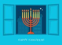 Open window with Hanukkah menorah. happy Hanukkah Royalty Free Stock Photo