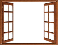 Open window isolation. Open wooden window isolated on white background Royalty Free Stock Images