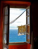 Open window. On ligurian sea Stock Photo